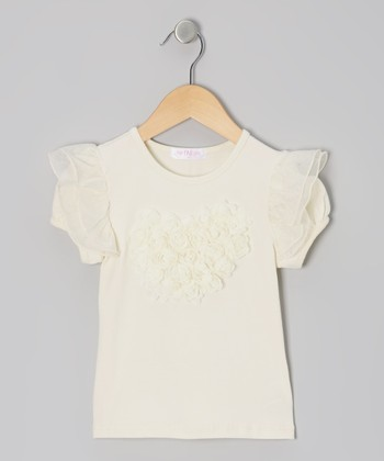 Ivory Rosette Angel-Sleeve Top - Infant, Toddler & Girls