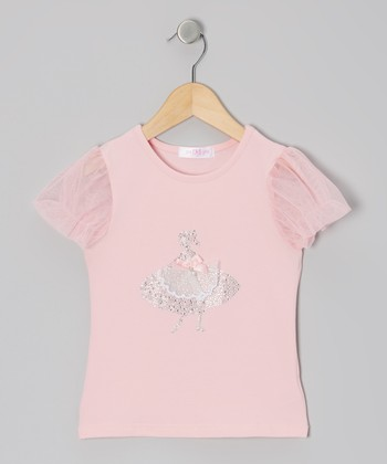 Pink Ballerina Puff-Sleeve Top - Infant