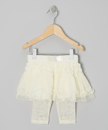 Ivory Rosette Lace Skirted Leggings - Infant, Toddler & Girls