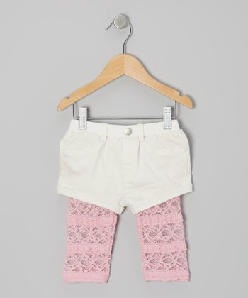 Ivory & Pink Lace Layered Shorts - Infant, Toddler & Girls