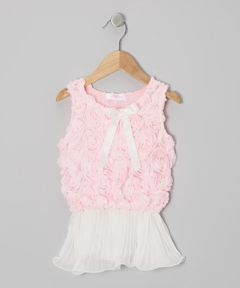 Pink & Ivory Rosette Pleated Tank - Infant, Toddler & Girls
