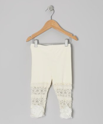 Ivory Lace Flower Leggings - Toddler & Girls
