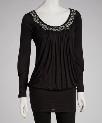 Black Beaded Collar Tunic
