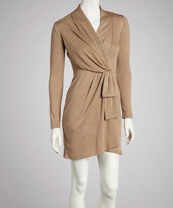 Mocha Faux Wrap Dress