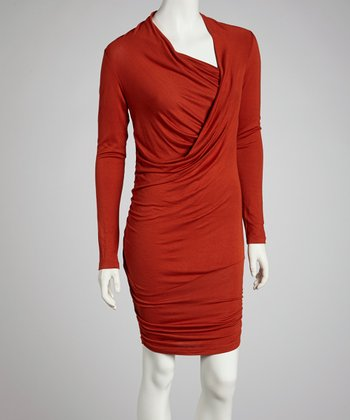 Rust Asymmetrical Cowl Neck Dress