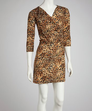 Brown Painterly Three-Quarter Sleeve Dress