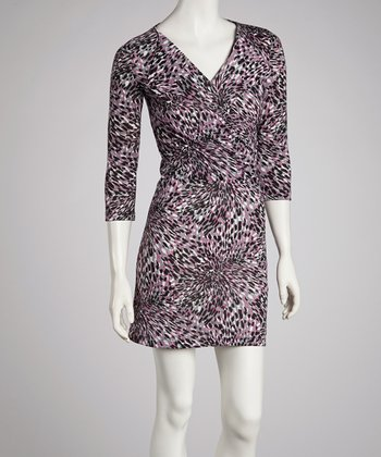Pink Painterly Three-Quarter Sleeve Dress