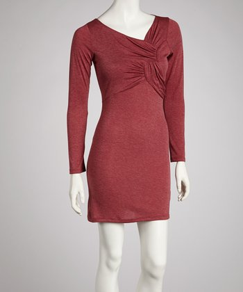 Burgundy Twist Long-Sleeve Dress
