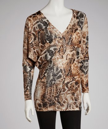 Brown Snakeskin V-Neck Dress