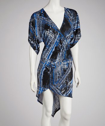 Royal Blue Abstract Cape-Sleeve Dress