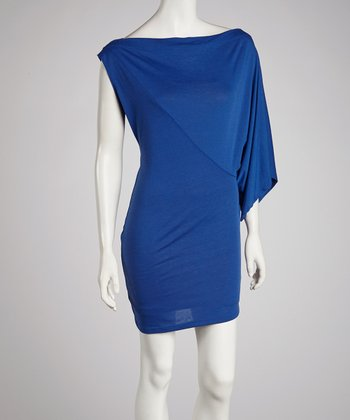 Royal Blue Asymmetrical Sleeve Dress