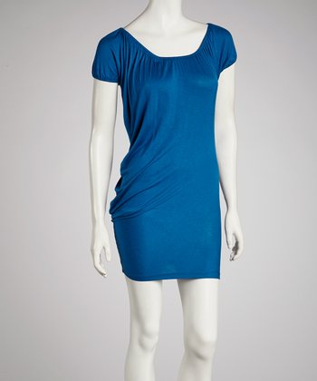 Blue Cap-Sleeve Dress