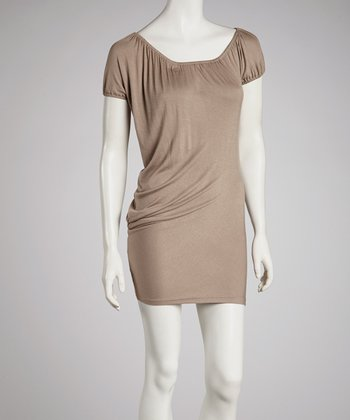 Mocha Cap-Sleeve Dress
