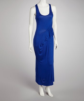 Royal Blue Gathered Racerback Maxi Dress