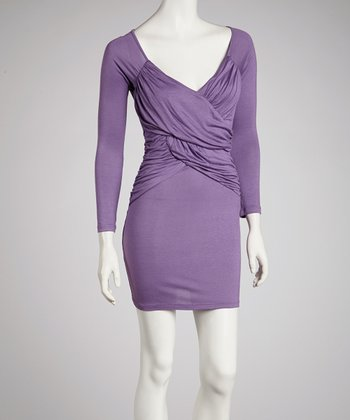 Lilac Long-Sleeve Crisscross Dress