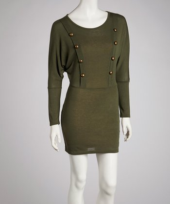 Olive Uniform Long-Sleeve Dress