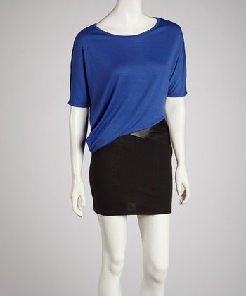 Black & Royal Blue Asymmetrical Dress