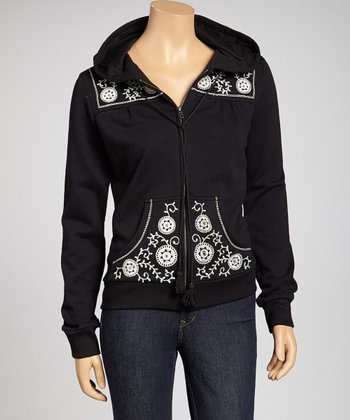Black Embroidered Zip-Up Hoodie