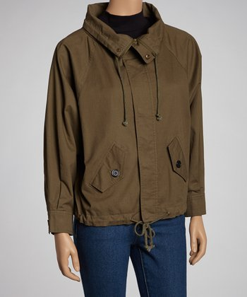 Olive Cinch Waist Jacket