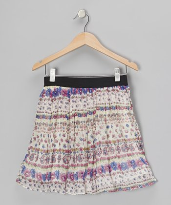 White Floral Stripe Skirt