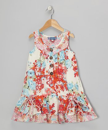 Orange Floral Drop-Waist Ruffle Dress