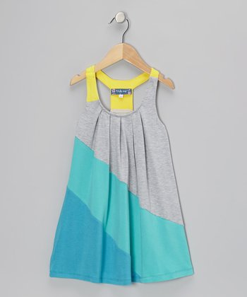 Blue & Gray Color Block Swing Dress