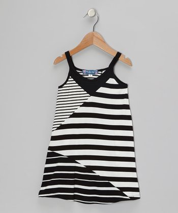 Black & White Patchwork Stripe Swing Dress