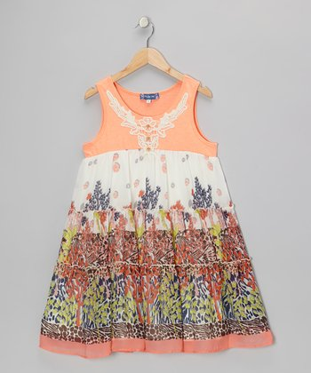 Orange & Green Garden Tiered Dress