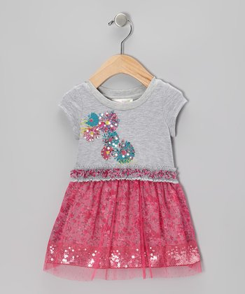 Gray Sequin A-Line Dress - Infant, Toddler & Girls