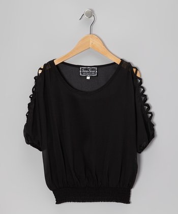 Black Cutout Dolman Top - Girls