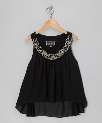 Black Bead Yoke Top - Girls