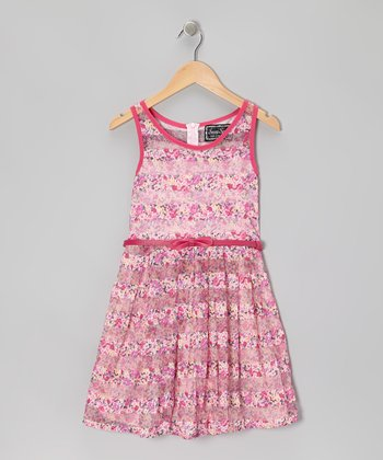 Pink Mesh Stripe A-Line Dress - Girls