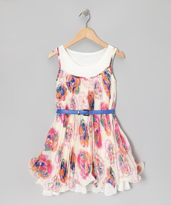 White Floral Trapeze Pleated Dress - Girls