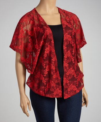 Red Lace Open Cardigan - Plus