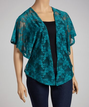 Teal Lace Open Cardigan - Plus