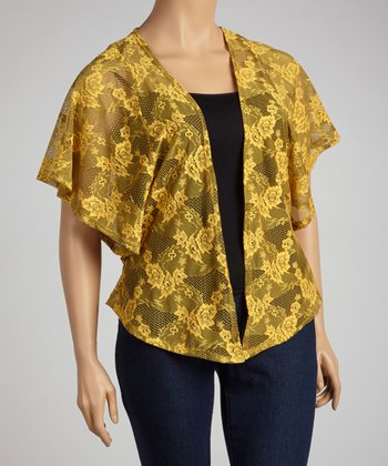 Gold Lace Open Cardigan - Plus