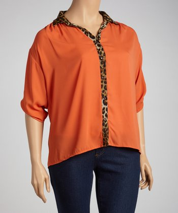 Orange & Leopard Button-Up - Plus