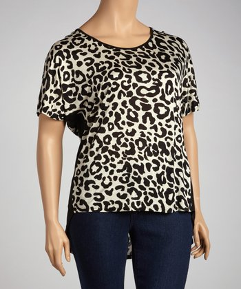 White Leopard Cutout Dolman Tunic - Plus