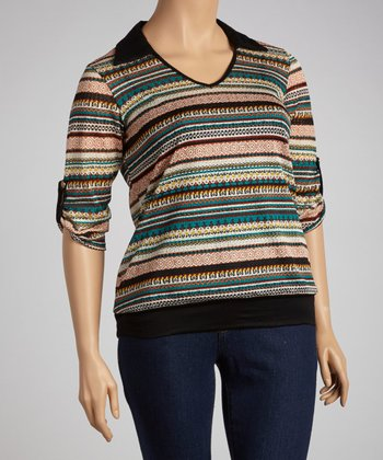 Teal Stripe Top - Plus