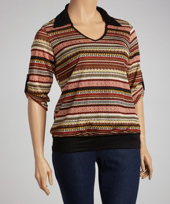 Rust Stripe Top - Plus