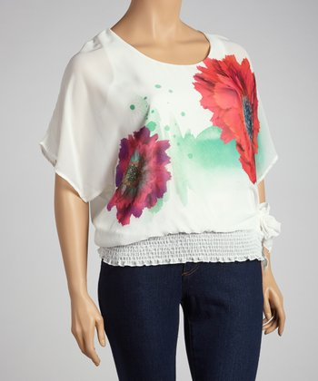 Ivory Flower Top - Plus