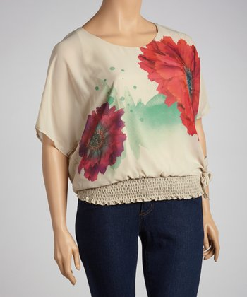 Taupe Flower Top - Plus