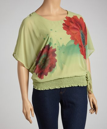 Olive Flower Top - Plus