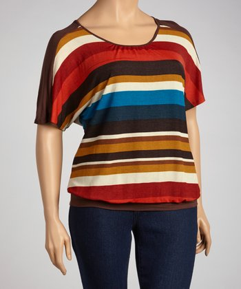 Rust Stripe Cutout Tunic - Plus