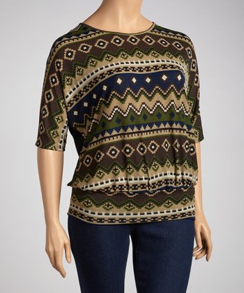 Navy Blue Native Tunic - Plus