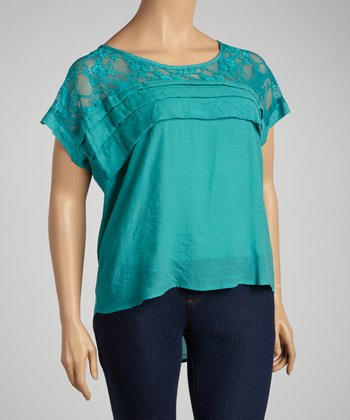 Teal Lace Tiered Top - Plus