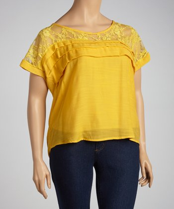 Gold Lace Tiered Top - Plus