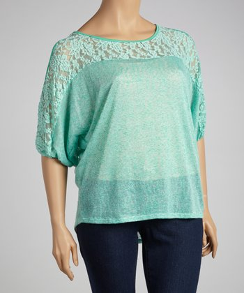 Jade Lace Cutout Dolman Top - Plus