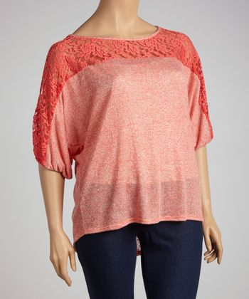 Coral Lace Cutout Dolman Top - Plus