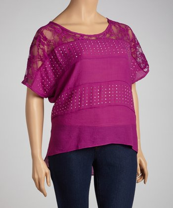 Magenta Studded Lace Dolman Top - Plus